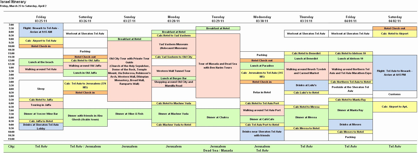 Trip Planner Template Excel New Hourly Calendar Template