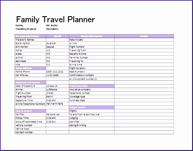 Trip Planner Template Excel Unique 9 Flight Itinerary Template Excel Exceltemplates
