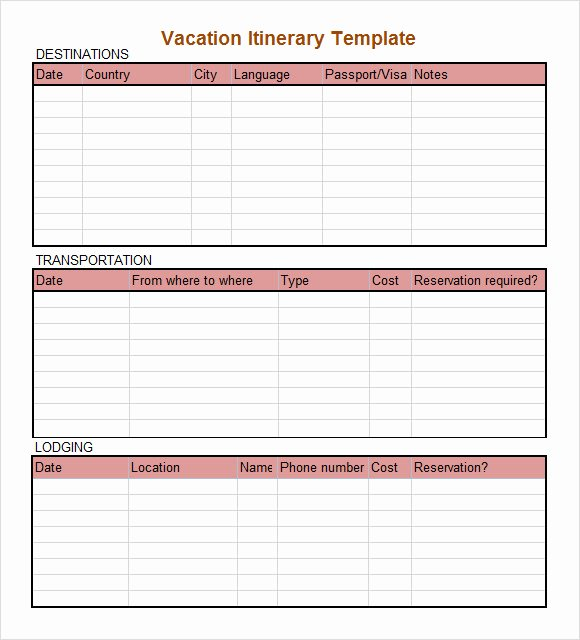Trip Planner Template Excel Unique Sample Daily Itinerary 7 Documents In Pdf Word Excel