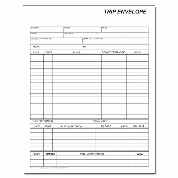 Trip Sheets for Truck Drivers Inspirational Mileage Fuel Trip Report Trucking Envelopes