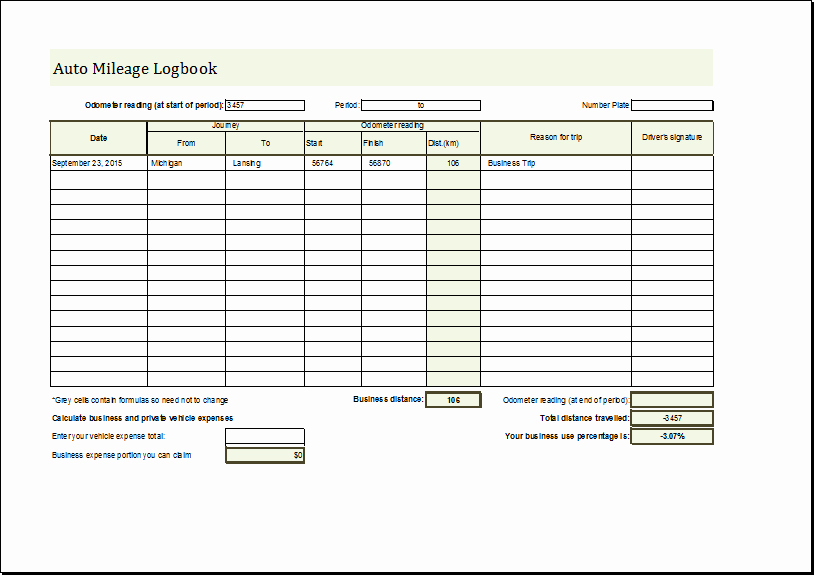 Trip Sheets for Truck Drivers New Mileage Log Book Template