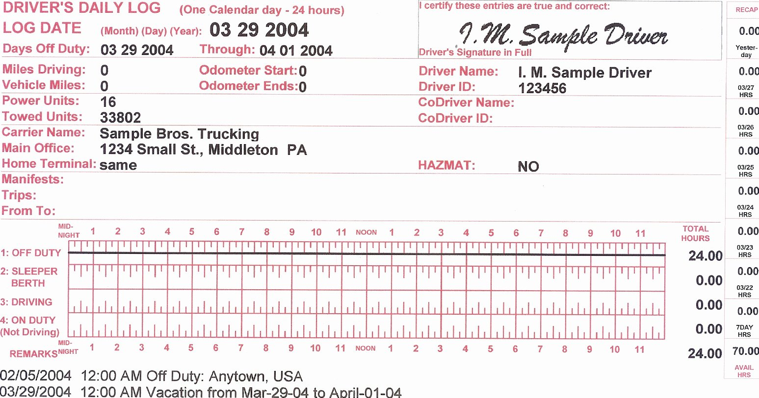 Trip Sheets for Truck Drivers Unique Days F and Vacation