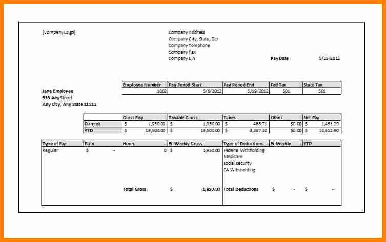 Truck Driver Pay Stub Template Awesome 5 Free Fillable Pay Stub Template