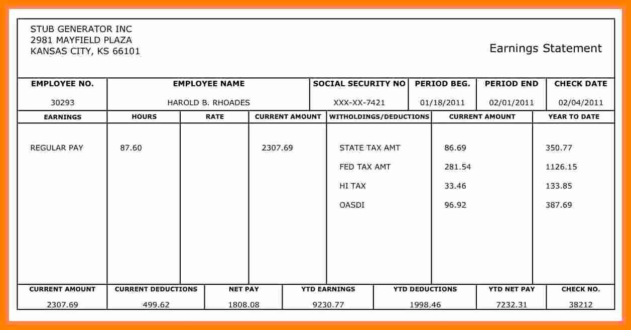 Truck Driver Pay Stub Template Best Of 9 Truck Driver Payroll Template