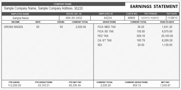 Truck Driver Pay Stub Template Elegant 24 Pay Stub Templates Samples Examples & formats
