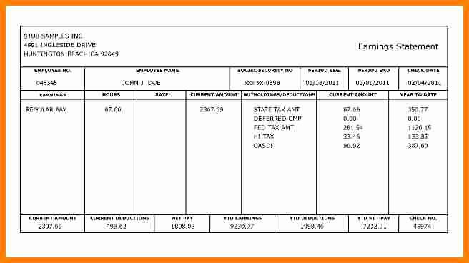 Truck Driver Pay Stub Template Lovely 5 Fillable Pay Stub Pdf