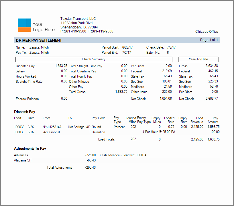 Truck Driver Pay Stub Template Lovely Payroll and Settlements Processing