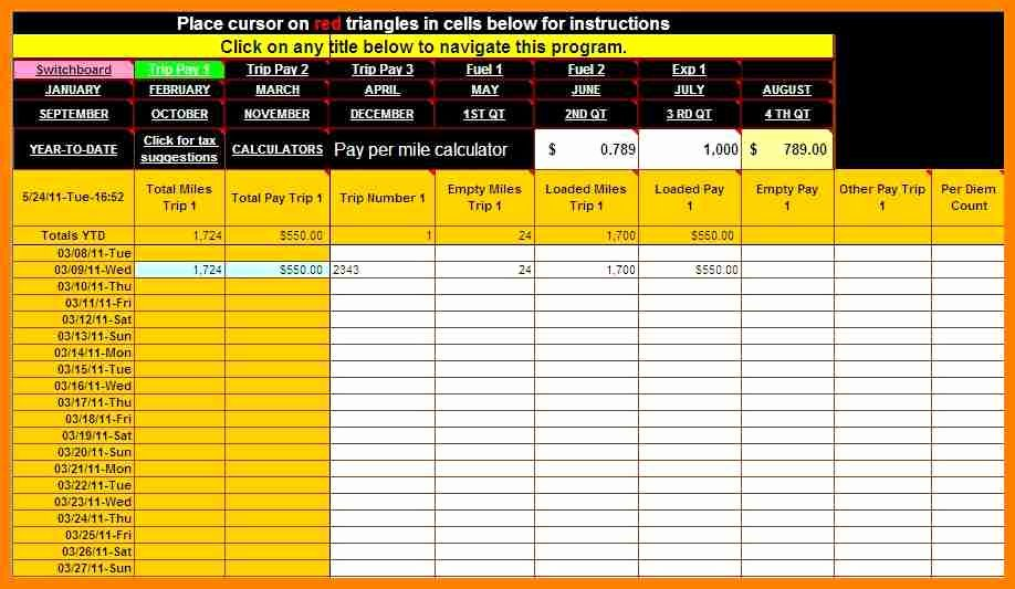 Truck Driver Pay Stub Template Unique 9 Truck Driver Payroll Template