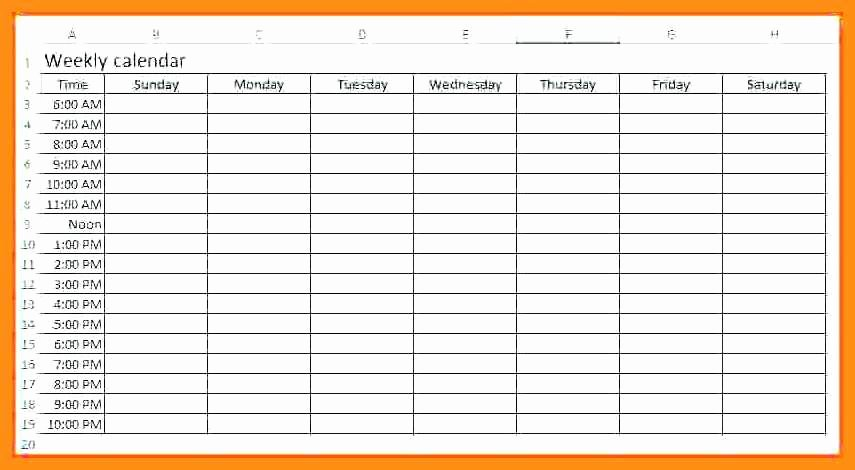 Two Week Calendar Template Awesome 12 13 Week Calendar with Times