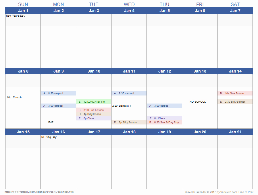 Two Week Calendar Template Beautiful Download A 3 Week Calendar Template From Vertex42