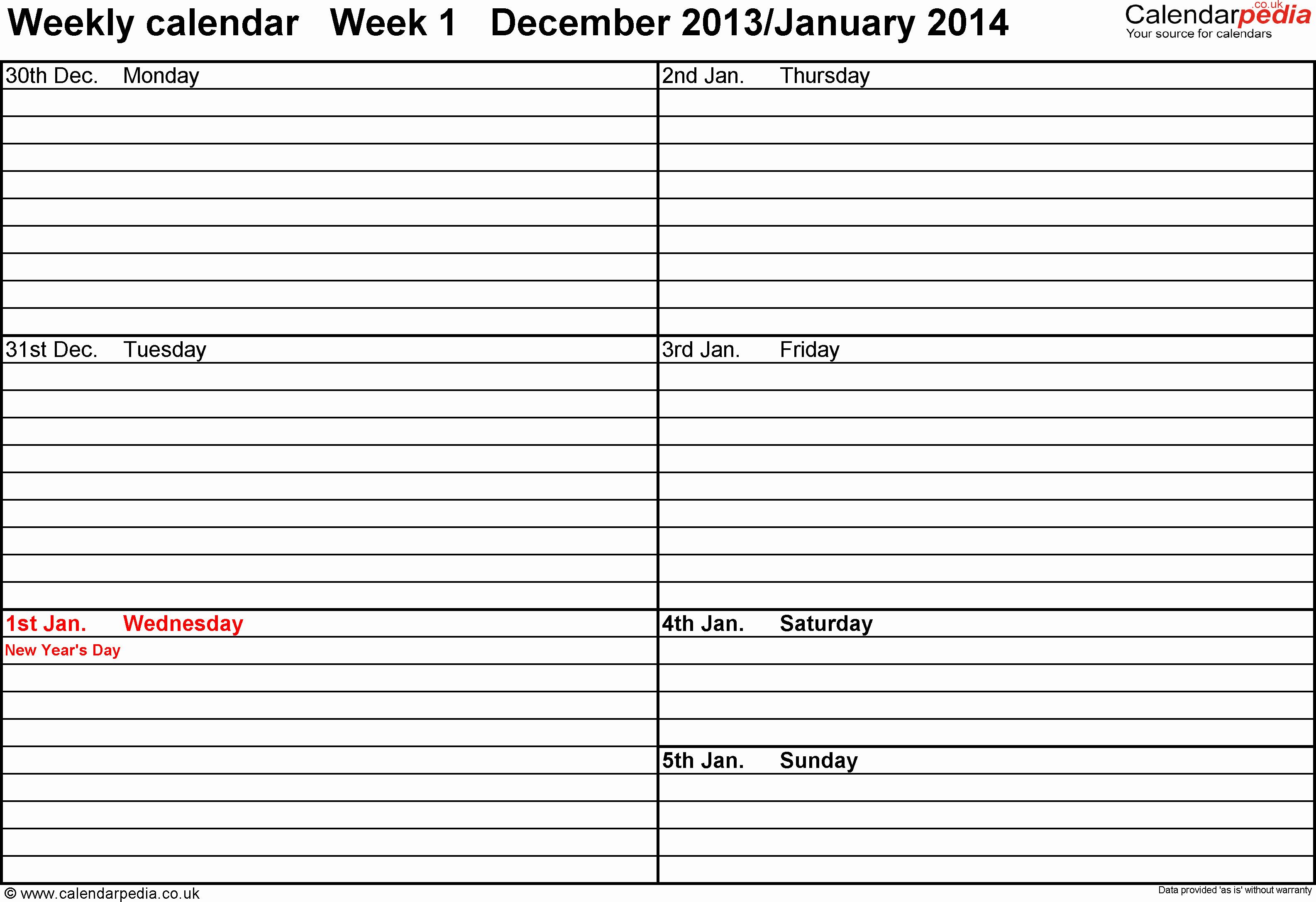 Two Week Calendar Template Elegant Weekly Calendar 2014 Uk Free Printable Templates for Word