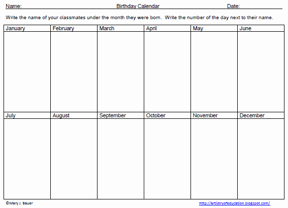 Two Week Calendar Template New Artistry Of Education Free Birthday Graphing Activity