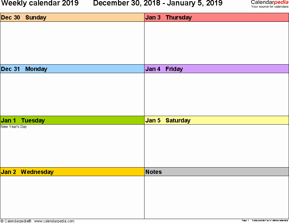 Two Week Calendar Template New Weekly Calendar 2019 for Pdf 12 Free Printable Templates