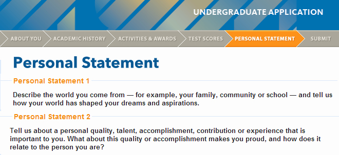 Uc Application Personal Statements Awesome Uc Application Ii Personal Statements