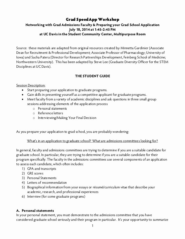 Uc Personal Statement Sample Essays Best Of Grad School Application Workshop Slides and Handout