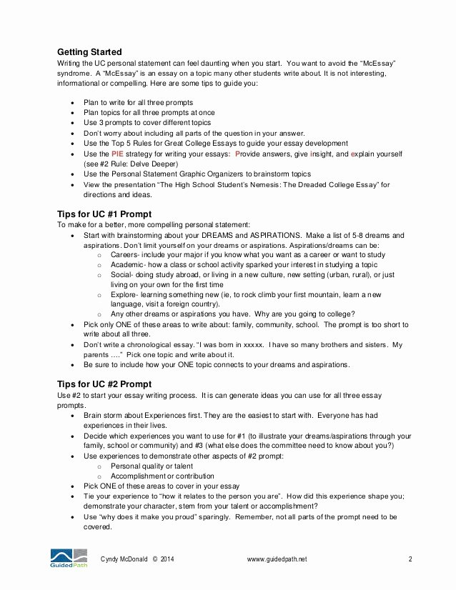 Uc Personal Statement Sample Essays Fresh 2014 University Of California Application Tips Part 2