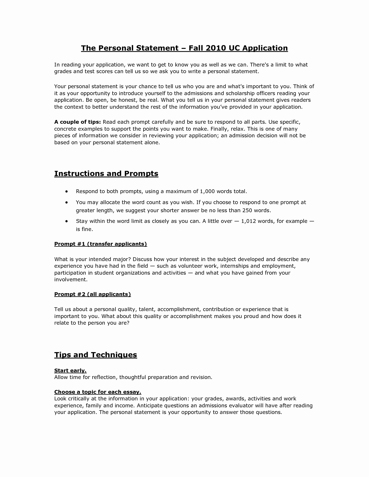 Uc Personal Statement Sample Essays Fresh Statement Best Template Collection
