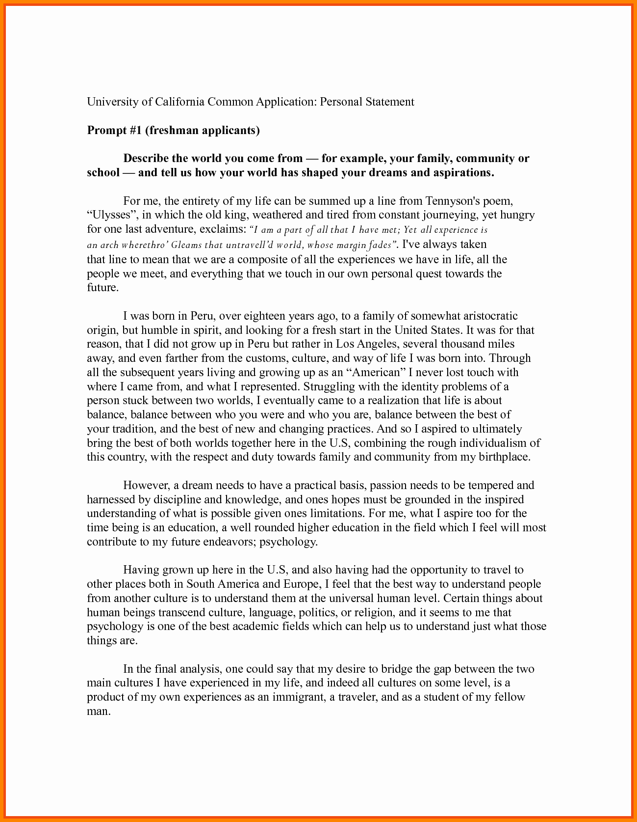 Uc Personal Statement Sample Essays New 8 Personal Statement format Example