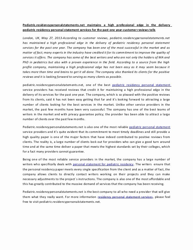 Uc Personal Statement Sample Essays New Pediatric Residency Personal Statement