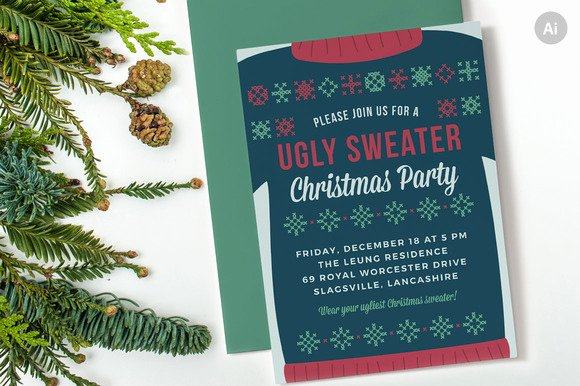 Ugly Sweater Invitation Template Free Beautiful Ugly Sweater Christmas Party Invite Invitation Templates