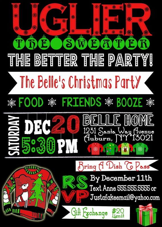 Ugly Sweater Invitation Template Free Best Of Note This is for A Digital File Only Nothing Will Be