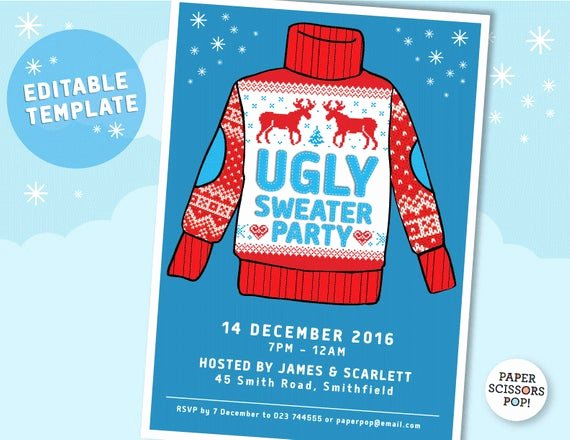Ugly Sweater Invitation Template Free Fresh Ugly Sweater Party Invitation Template Editable Printable