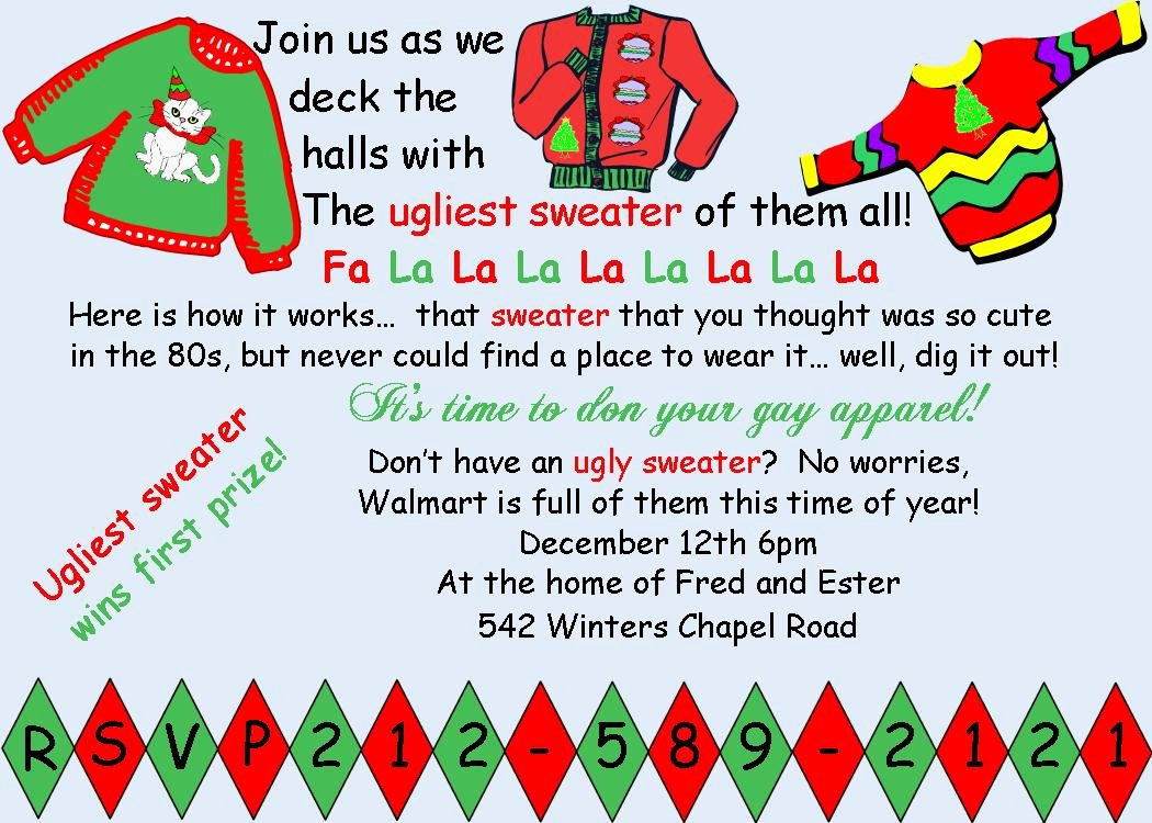 Ugly Sweater Invitation Template Free Lovely Funny Christmas Invite Wording