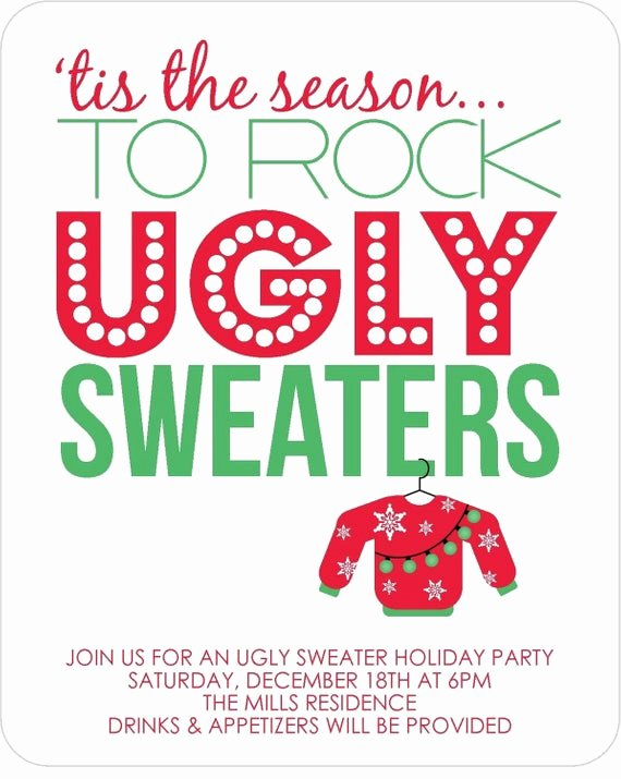 Ugly Sweater Invitation Template Free Lovely Items Similar to Ugly Sweater Party Invitations Set Of