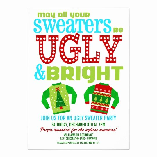 Ugly Sweater Invitation Template Free Luxury Ugly N Bright Christmas Sweater Party Invitation