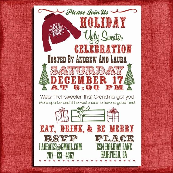 Ugly Sweater Invitation Template Free New Holiday Christmas Ugly Sweater Party Invitation 4x6