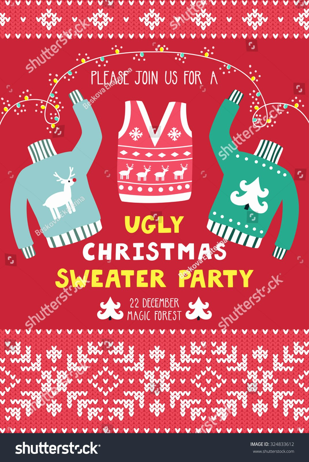 Ugly Sweater Invitation Template Free New Vector Invitation Template with Ugly Sweaters