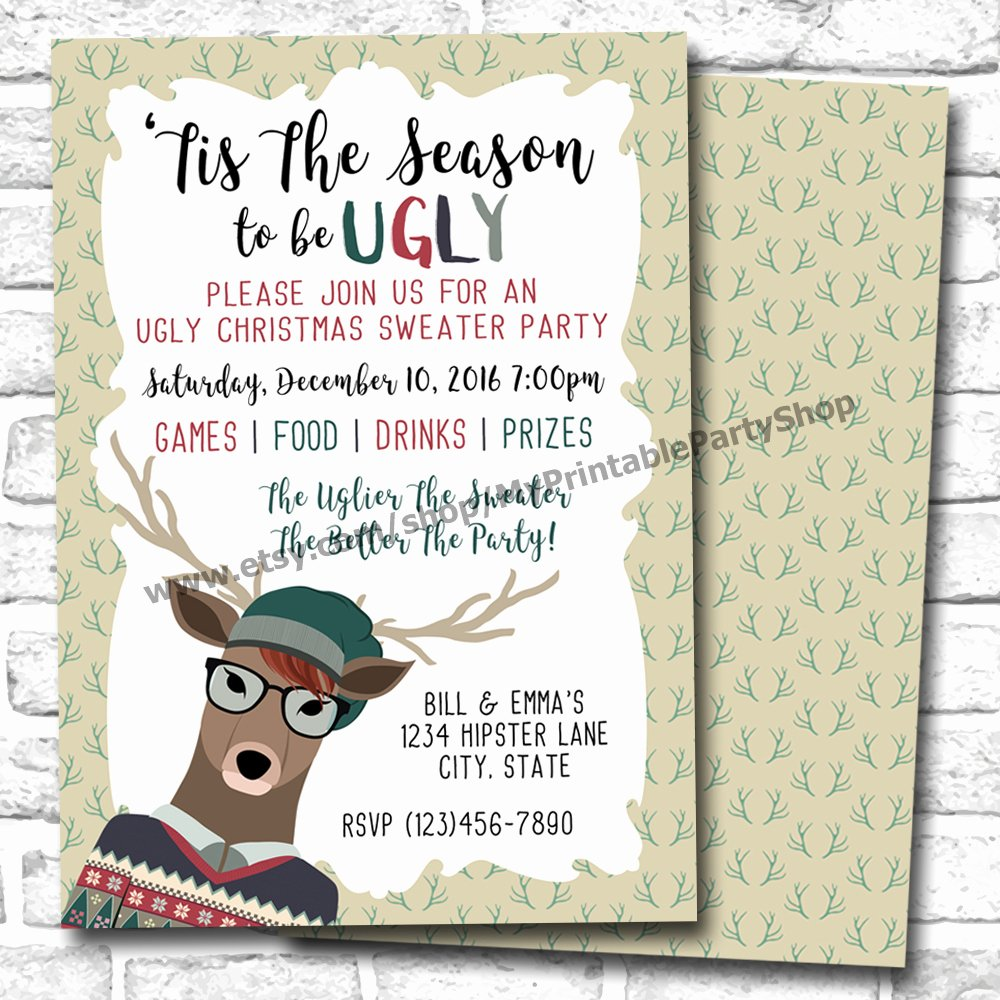 Ugly Sweater Invitation Template Free Unique Ugly Christmas Sweater Party Invitations for the Most