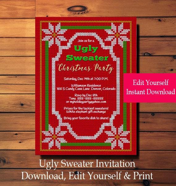 Ugly Sweater Invitation Template Free Unique Ugly Sweater Invitation Ugly Sweater Party Invitation