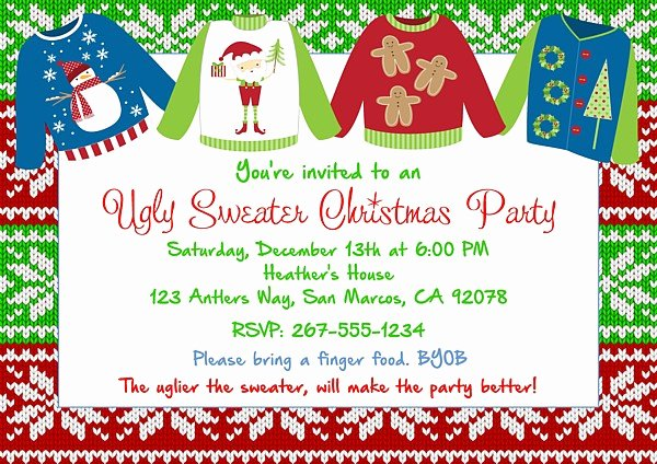 Ugly Sweater Party Invitation Template Free Awesome Christmas Party Invitations Ugly Sweater