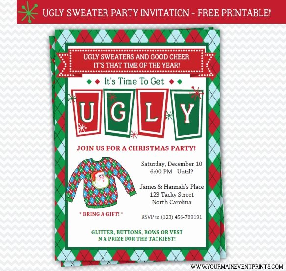 Ugly Sweater Party Invitation Template Free Fresh 13 Best Images About Ugly Sweater Party On Pinterest