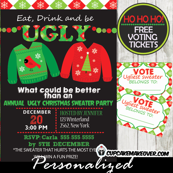 Ugly Sweater Party Invitation Template Free Fresh Tacky Sweater Party Invitations & Voting Ballots