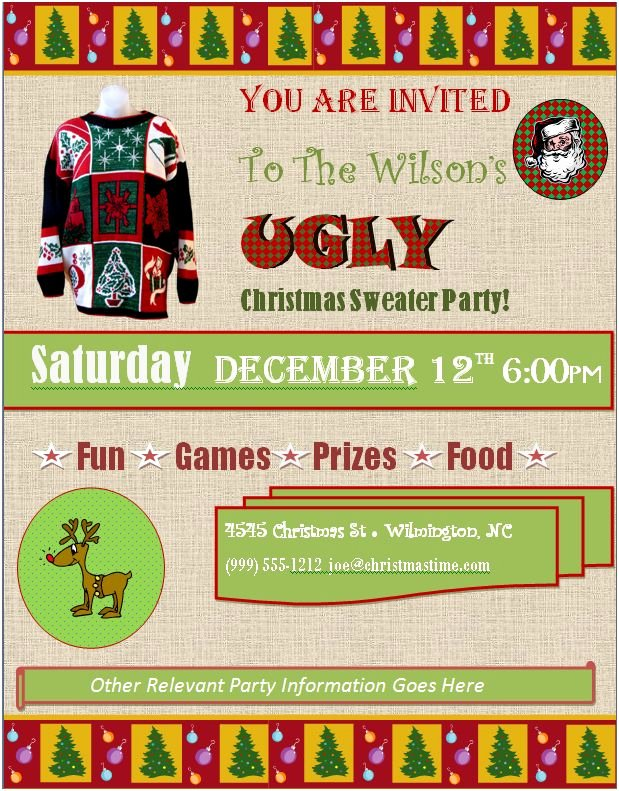 Ugly Sweater Party Invitation Template Free Fresh Ugly Christmas Sweater Party Invitations Free Downloads