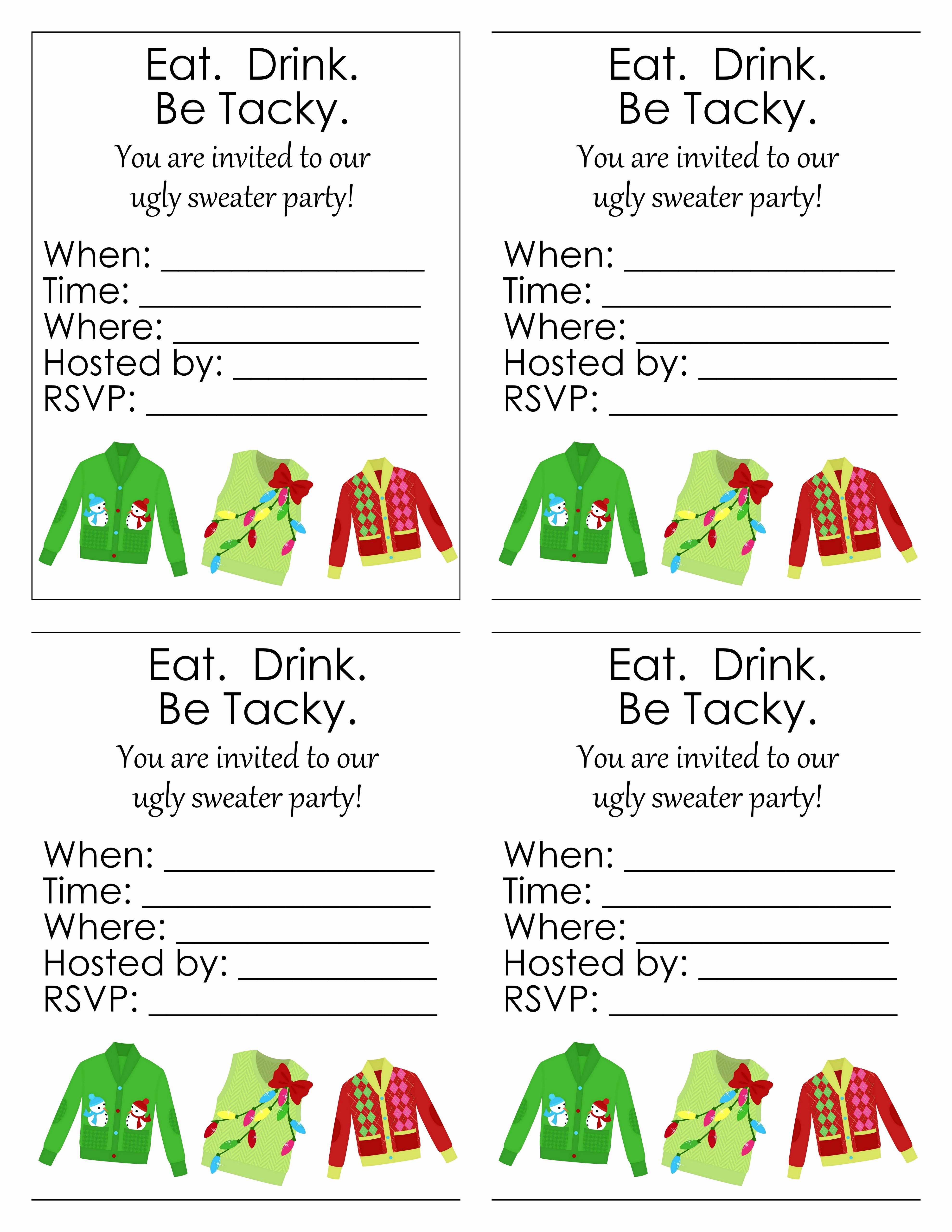 Ugly Sweater Party Invitation Template Free Fresh Ugly Sweater Party Free Printables the Country Chic Cottage