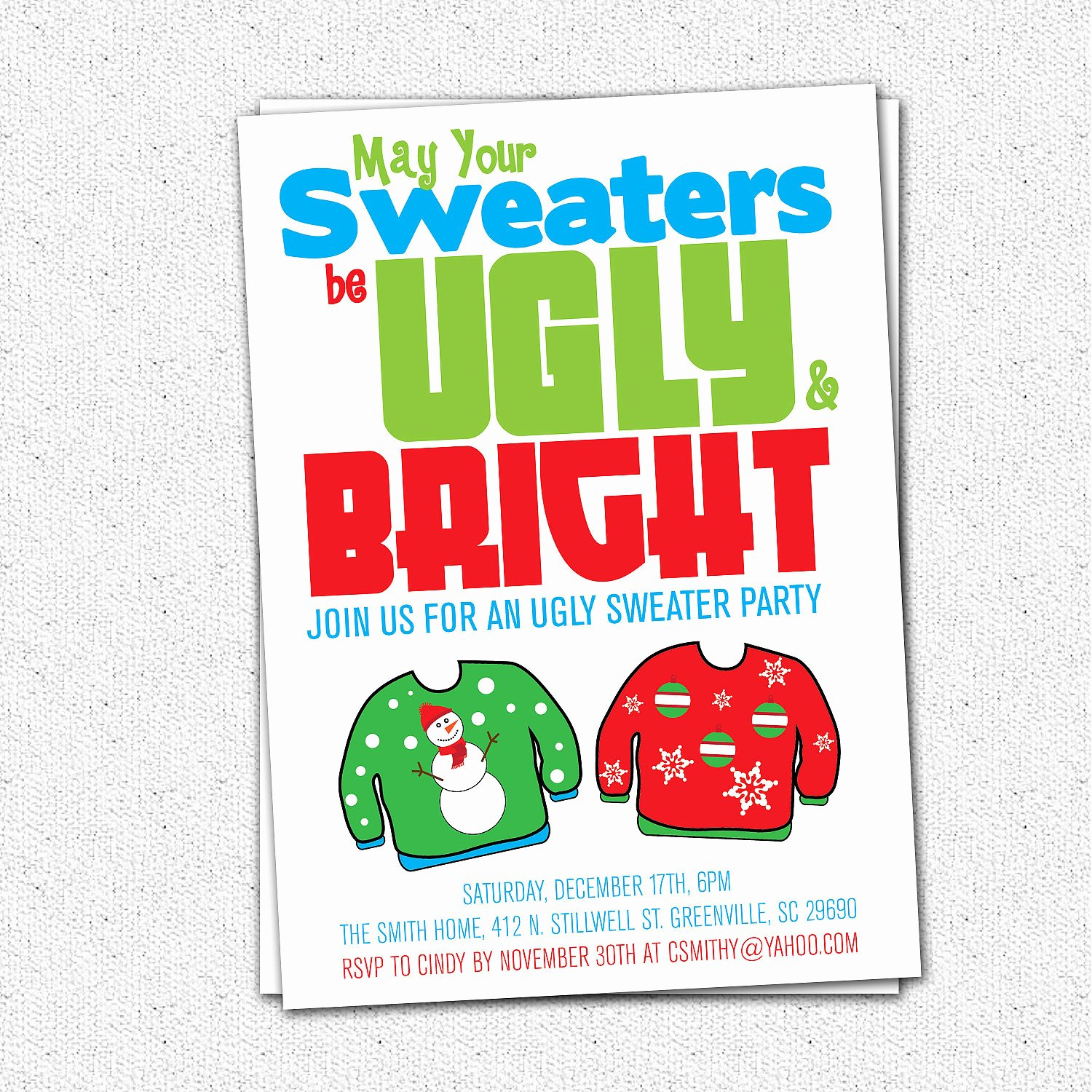 Ugly Sweater Party Invitation Template Free Fresh Ugly Sweater Party Invitation Tacky Holiday Christmas