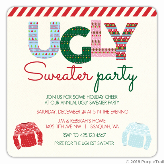 Ugly Sweater Party Invitation Template Free Inspirational Ugly Pattern Striped Tape Ugly Sweater Party Invitation