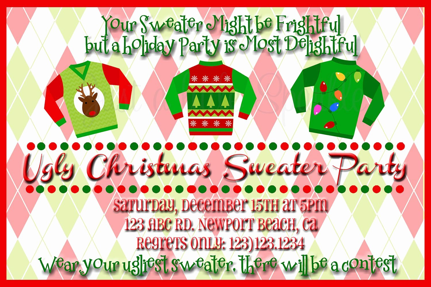 Ugly Sweater Party Invitation Template Free Unique Ugly Christmas Sweater Party Flyer Invitation Templates