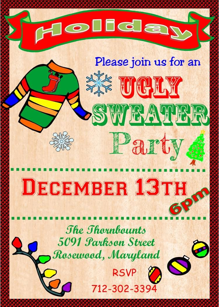 Ugly Sweater Party Invitation Template Free Unique Ugly Sweater Invitation Template Free Ugly Sweater Party