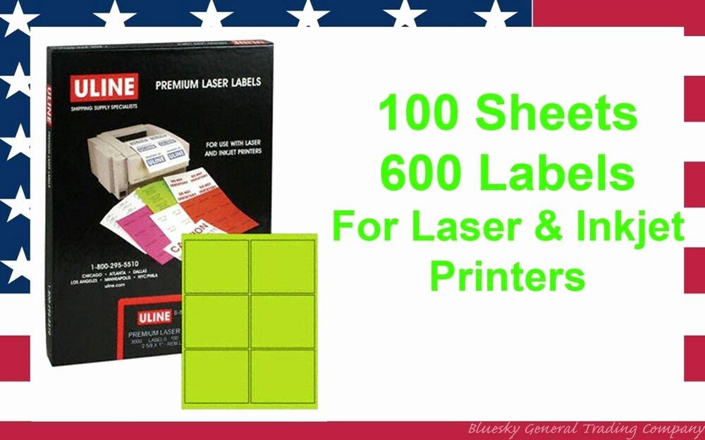 """Uline Label Printer Luxury 600 Uline S 3848g 4"""" X 3 1 3"""" Fluorescent Green Premium"""