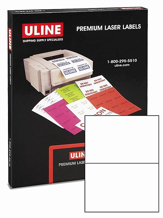 "Uline Label Template Fresh Uline Laser Labels White 8 1 2 X 5 1 2"" S 5044 Uline"