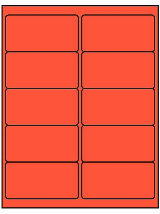 "Uline Label Template New Removable Laser Labels Fluorescent Red 4 X 2"" S R"
