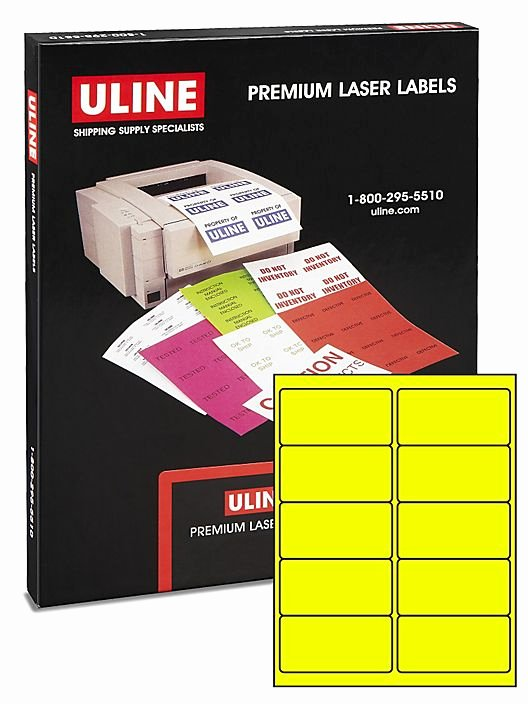 """Uline Label Templates Inspirational Uline Laser Labels Fluorescent Yellow 4 X 2"""" S 3847y"""