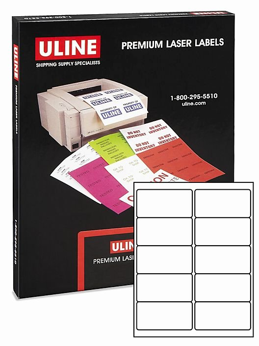 "Uline Labels Templates Awesome Uline Laser Labels Glossy White 4 X 2"" S Uline"