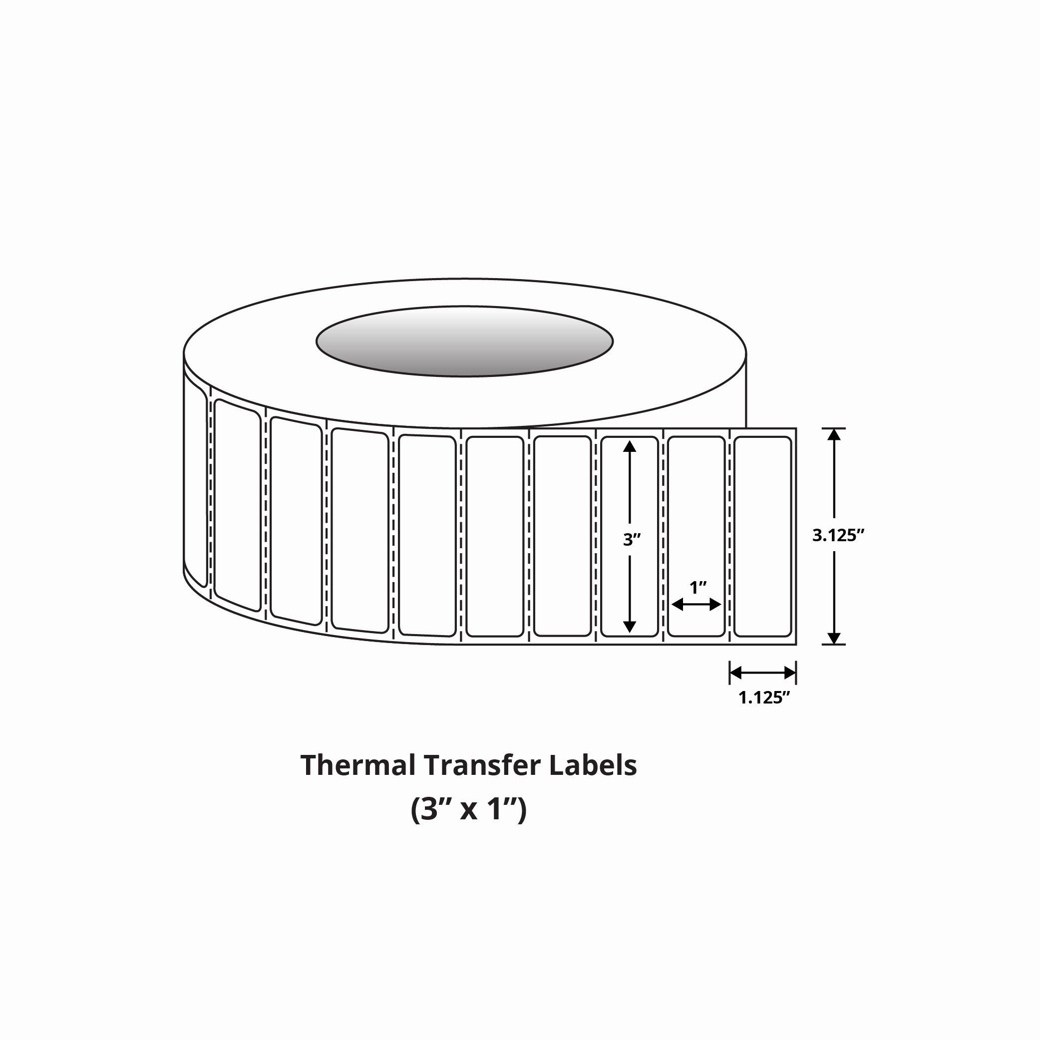 """Uline Premium Laser Labels Beautiful Premium 3"""" X 1"""" thermal Transfer Labels"""