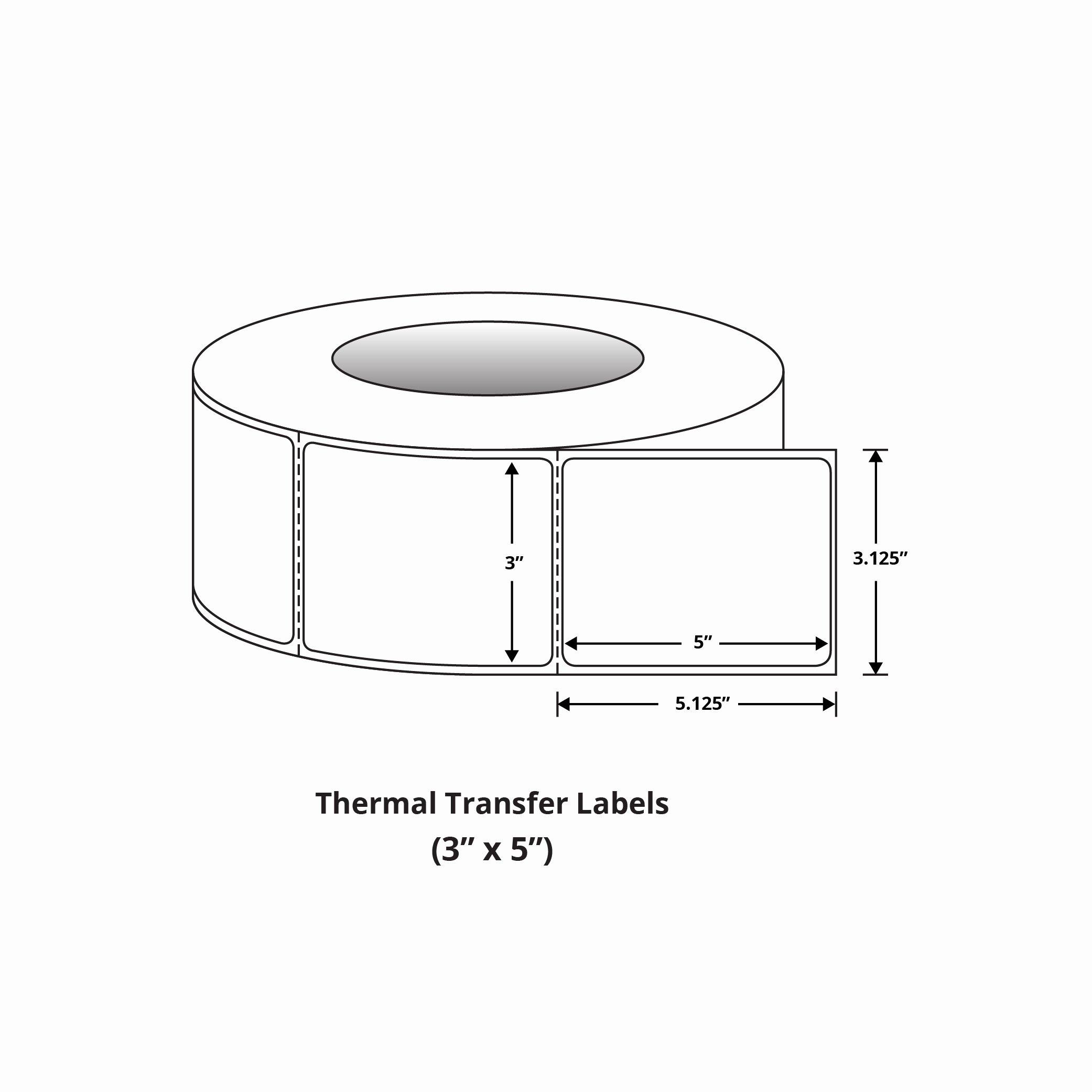 """Uline Premium Laser Labels Beautiful Premium 3"""" X 5"""" thermal Transfer Labels"""