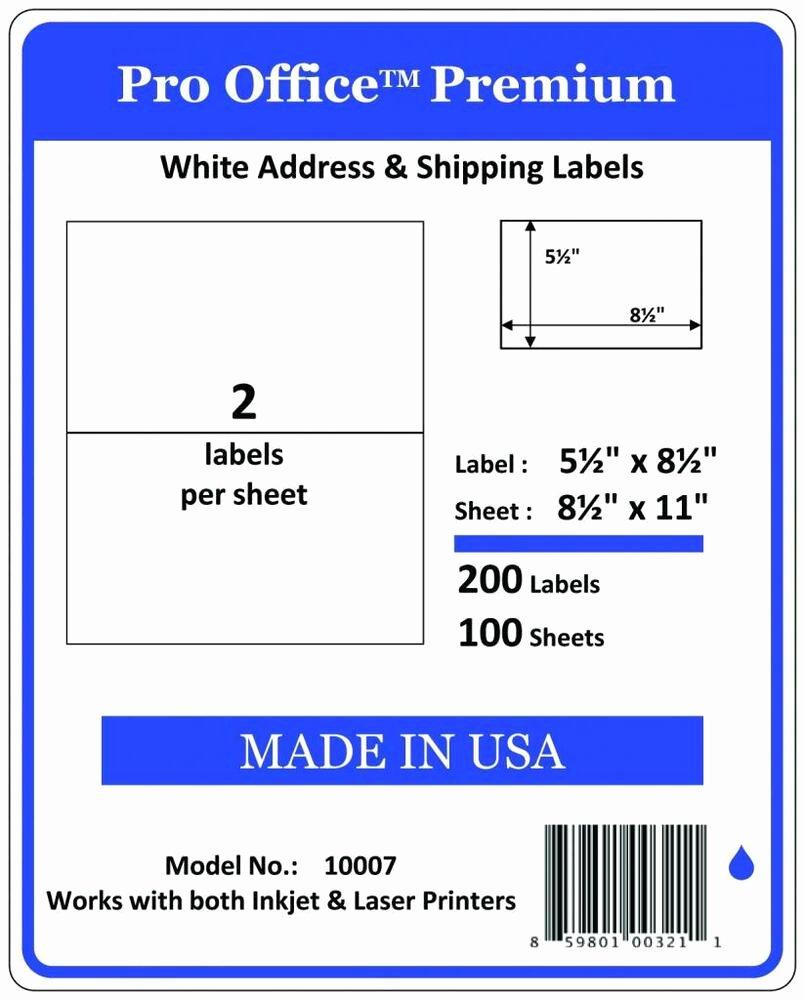 Uline Premium Laser Labels New Po07 Pro Fice Self Adhesive Premium Shipping Labels 8 5